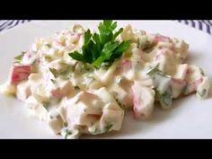 ΔΡΟΣΕΡΗ ΣΑΛΑΤΑ ΜΕ ΣΟΥΡΙΜΙ (ΚΑΒΟΥΡΟΨΙΧΑ)!!! - YouTube Salad Bar, Fish Recipes, Potato Salad, Seafood, Potatoes, Ethnic Recipes, Fish Food, Videos, Youtube