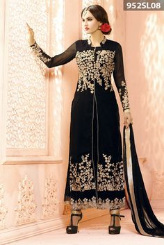 #Black georgette #SalwarKameez accompanied with zari, resham embroidery work with stylish button and golden piping. Black crape embroidered straight pant and black chiffon dupatta are available with this.