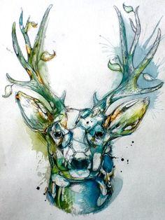 Abby Diamond…she has some amazing watercolor birds as well Animal Paintings, Animal Drawings, Cool Drawings, Tattoo Studio, Deer Head Tattoo, Stag Head, Deer Drawing, Deer Art, Nature Artists
