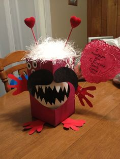 valentine monster box | Valentine Monster box to collect valentines. Made out of a tissue box.