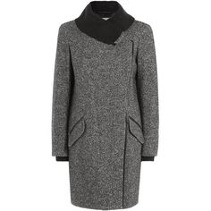 Vince Wool-Cotton Blend Coat (1,320 CAD) ❤ liked on Polyvore featuring outerwear, coats, grey, vince coat, grey wool coat, gray coat, grey coat и woolen coat