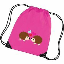 Two Hedgehogs Kissing In Love Valentines Gymsac Bag Gym School Bag Sack Unisex