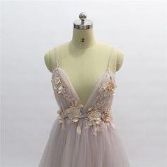 Elegant Backless Court Train Flowers Blush A Line Tulle Long Evening Dress - Uniqistic.com