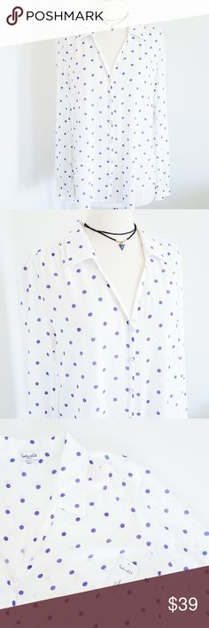 "Splendid Polka Dot Button Up ⭐ NWT ⭐ Button up top with neck collar. Long sleeves with sleeve cuffs. Crinkled chiffon fabric.   Measurements (small):  Underarm to underarm 40""  Length 27""   Please reference measurements and ask all questions before purchasing. Always happy to help. PM does not accept returns for fit issues. Splendid Tops Button Down Shirts"