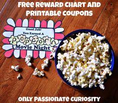 Popcorn Movie Night Reward Chart