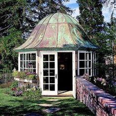 Verdigris roof enclosed gazebo