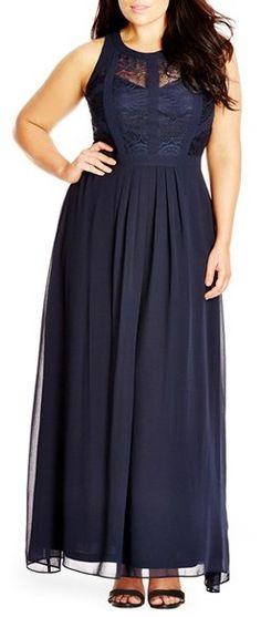 Plus Size Lace Bodice Gown