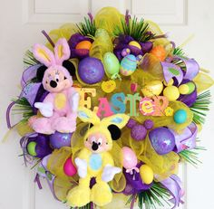 Minnie and Mickey Mouse Disney Easter Wreath