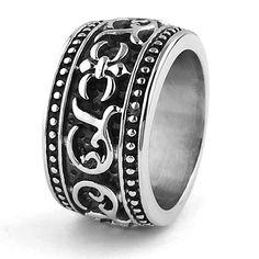 EnM Jewelry Men's Stainless Steel Ring Fleur de Lis Celtic Knot Biker Band Antique Silver/Black 8 from US