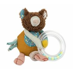 This gorgeous little bear ring rattle comes from Moulin Roty's newest range, Jolis trop beaux and makes the perfect newborn gift. Bear Slippers, Alphabet Cards, French Fabric, Animal Alphabet, Activity Toys, Le Jolie, Baby Rattle, Creative Play, Baby Kind