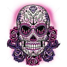 9x11  - PINK SUGAR SKULL - ethnic, latin, Pink, Plastisol Transfer, roses, skull, Skulls, sugar skull, Latin