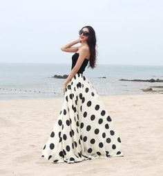 Floor-length Dress Women's Skirt Maxi Dot Print Casual Long Summer Fashion