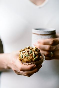 Maple-Sweetened Pumpkin Oat Muffins Recipe - A healthier pumpkin muffin recipe made with whole wheat flour and rolled oats and sweetened only with maple syrup.