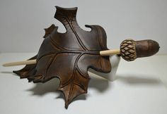 Maple Leaf Barrette - Leather Barrette - Barrette with Stick - Hair barrette - Brown/Gold/Copper barrette - Leaf Leather Art, Leather Tooling, Leather Carving, Leather Jewelry, Wood Carving, Leather Pattern, Leather Projects, Hair Sticks, Hair Ornaments