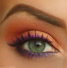 Hot Make up : laranja + dourado + roxo + pink