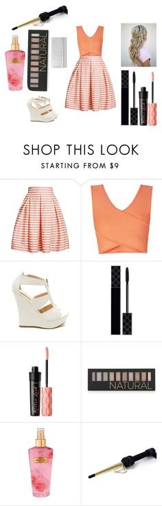 """""""date night maybe"""" by mmmescher on Polyvore featuring Rumour London, BCBGMAXAZRIA, Gucci, Benefit, Forever 21, Victoria's Secret, Hot Tools and Jimmy Choo"""