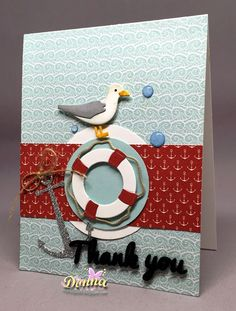 Donna's card using Life Preserver, Seagull, Anchor, Circle and Thank You dies