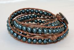 4x wrap leather bracelet swarovski pearl bracelet by mvtreasures, $80.00