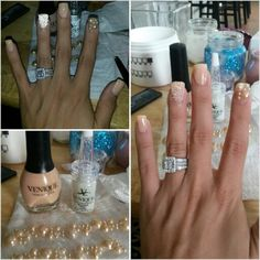 Nude nails with pearls and microglass beads