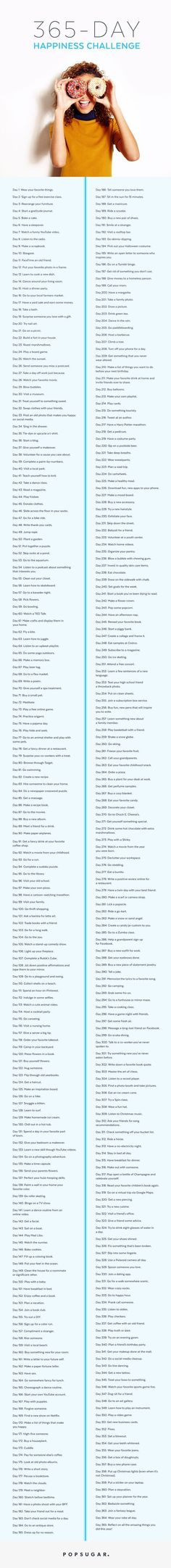 The 365-Day Happiness Challenge: Little things can make a BIG impact. These 365 daily prompts and challenges will help you build your life around the small things that grow your happiness.