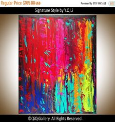Original art Oil abstract landscape wall decor wall by QiQiGallery