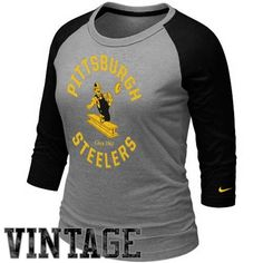 Nike Pittsburgh Steelers Womens Retro Stamp It Raglan T-Shirt - Ash bc526b89b