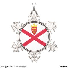 Jersey, flag pewter snowflake decoration