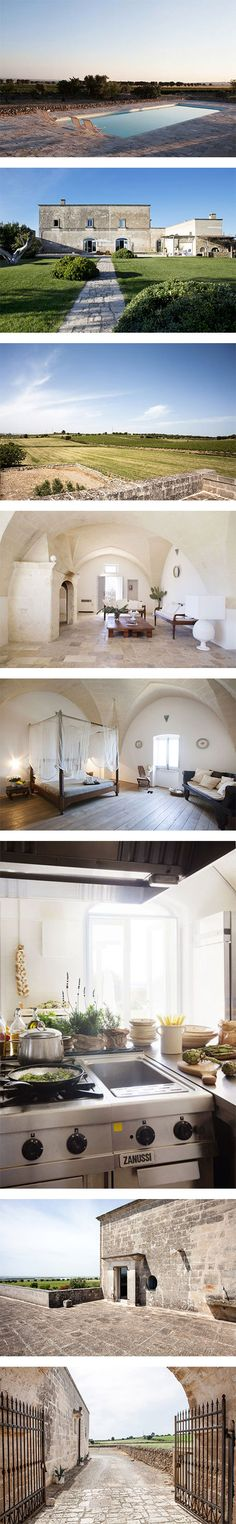 An 18th-century vineyard home in Puglia featuring Jil Sander Hats, Prism Sunglasses and Barton Perreira Sunglasses on Nuji.com #home #travel #holidays