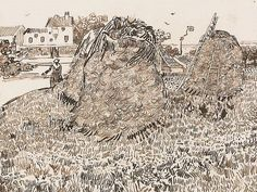 Vincent van Gogh Drawing, Pen, reed pen Arles: 1888 Szépmüvészeti Museum Budapest, Hungary, Europe F: JH: 1514 Image Only - Van Gogh: Haystacks near a Farm Vincent Van Gogh, Artist Van Gogh, Van Gogh Art, Van Gogh Drawings, Van Gogh Paintings, Art Van, Van Gogh Zeichnungen, Statues, Russian Art