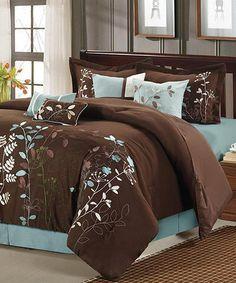 Look what I found on #zulily! Brown Bliss Garden Embroidered Comforter Set #zulilyfinds
