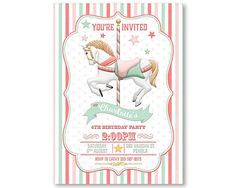 Carousel Birthday Invitation Pink Blush Mint by WestminsterPaperCo
