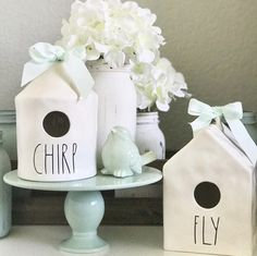 Rae Dunn birdhouses Chirp and Fly