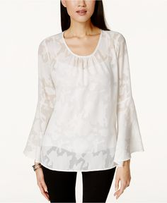 NY Collection Lace Illusion Bell-Sleeve Blouse - Tops - Women - Macy's