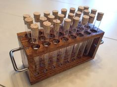 Test Tube Rack - 24 Tubes and Corks Included - How cool would this be for crochet hook storage?