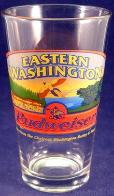 HTF Eastern Washington Budweiser Pint Glass Pounder Pheasant Bar Pub Hops WA Bud