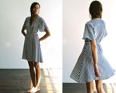 stripped house dress