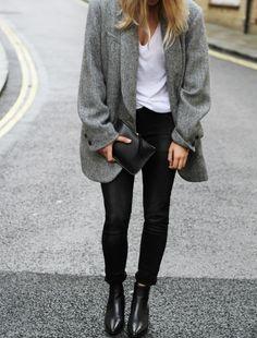 Oui au contraste entre skinny noir et veste d'homme trop grande !