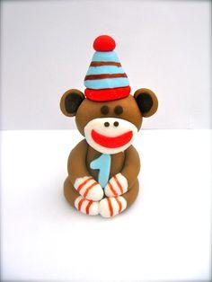 Birthday Sock Monkey cupcake topper
