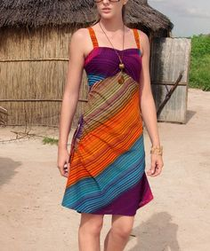 Another great find on #zulily! Purple & Orange Sleeveless Dress by Aller Simplement #zulilyfinds