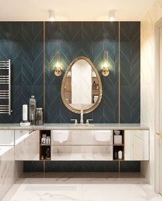 Summary of characteristics of the art deco interior design and example of Art Deco bathroom and brass or color. Here& how to get an elegant art deco bathroom perfectly into the current trend in interior architecture. Art Deco Bathroom, Modern Bathroom, Small Bathroom, Art Deco Tiles, Wall Tiles, Master Bathroom, Washroom Tiles, Bathroom Ideas, Art Deco Vanity