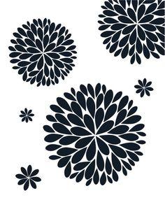 The Original Dahlia Flower Vinyl Wall Decal Flower Decal Stencil Patterns, Stencil Art, Stencil Designs, Flower Stencils, Stenciling, Machine Silhouette, Silhouette Cameo, Flower Svg, Dahlia Flower