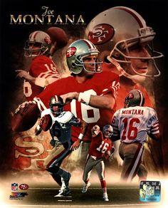 Joe Montana San Francisco Portrait Plus NFL Licensed Print Nfl 49ers, 49ers Fans, Nfl Football, Montana Football, Football Posters, Football Stuff, Football Memes, Football Season, Mlb