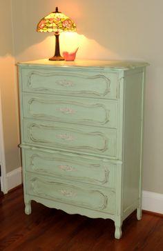 vintage shabby chic mint green dresser