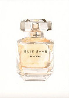 Elie Saab Fragrance Watercolor perfume bottle by MilkFoam on Etsy