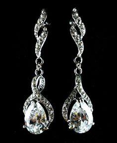Teardrop Bridal Earrings, Infinity Wedding Earrings, Long Dangle Gold or  Silver Earrings, Cz Drop Swarovski Crystal Bridal Jewelry, JETAIME
