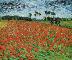 Impressionism and post-impression are my two favorite styles a of art, the colors, the forms and figures, the strokes, all of it comes together beautifully. Field of Poppies by Vincent van Gogh is a perfect example. Vincent Van Gogh, Artist Van Gogh, Van Gogh Art, Art Van, Van Gogh Landscapes, Landscape Paintings, Claude Monet, Van Gogh Paintings, Dutch Painters