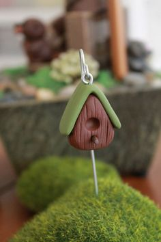 Birdhouse on Shepherd's Hook Polymer Clay by GnomeWoods on Etsy