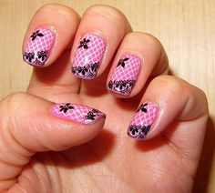 pink&black; lace nails