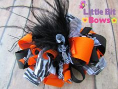 Orange Black and Zebra Halloween Boutique Funky by littlebitbows