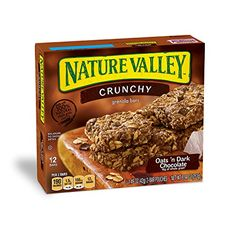 Nature Valley Granola Bars Crunchy Oats and Dark Chocolate 6 Pouches 15 oz Per Pouch Total 12 Bars * Continue to the product at the image link. (This is an affiliate link and I receive a commission for the sales) Cereal Bars, Granola Bars, Breakfast Recipes, Good Food, Healthy Recipes, Chocolate, Pouches, Image Link, Note